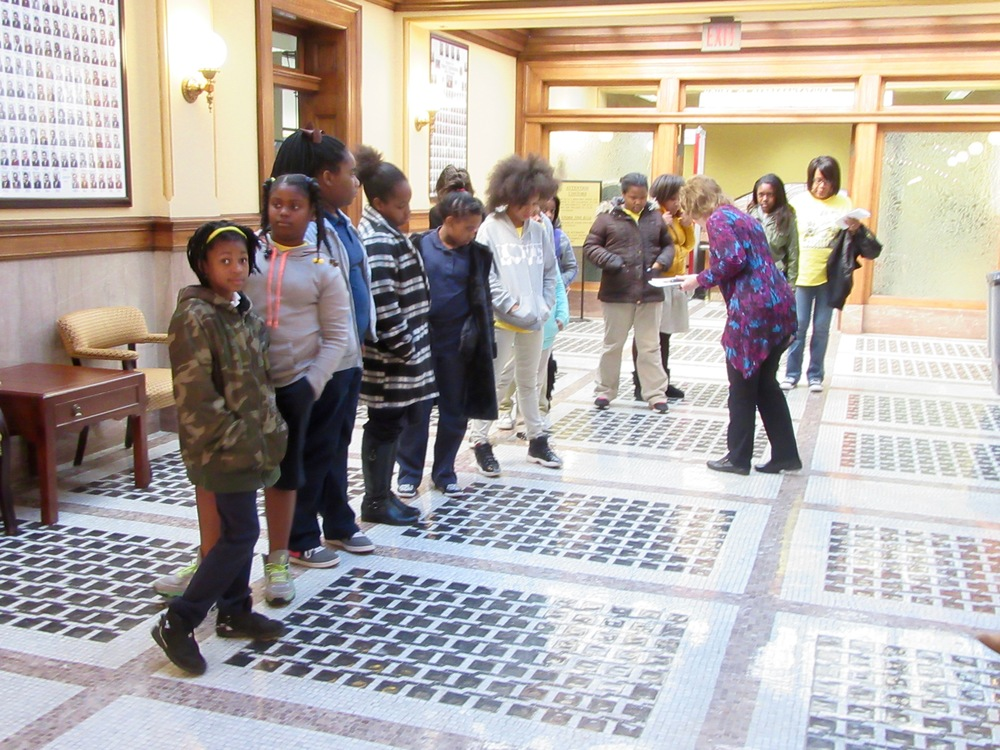 French Elementary School 5th Grade Girls tours and visit their legislators at the MS State Capitol accompanied by Tour Coordinator, Teachers and NCBW CMS Mentors and were introduced in both Chambers