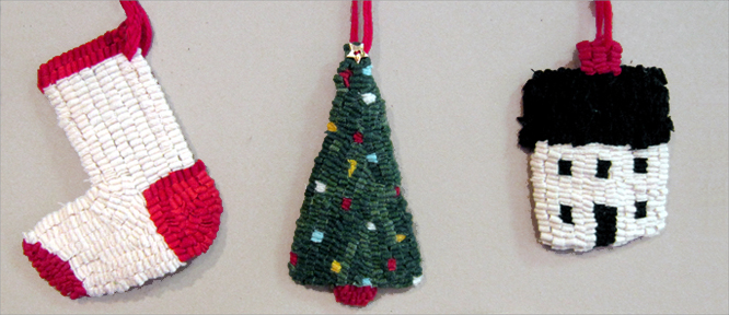 CHRISTMAS ORNAMENTS , HOOKED BY BEVERLY OSGOOD OF RIDGEFIELD, CT