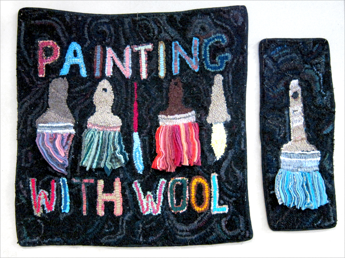 PAINTING WITH WOOL  &  PAINTBRUSH , HOOKED BY JUNE MYLES OF REDDING, CT