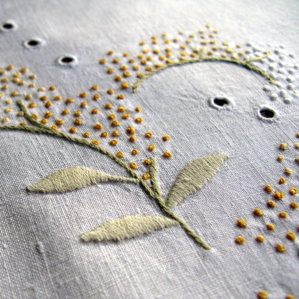 embroidered round table linen