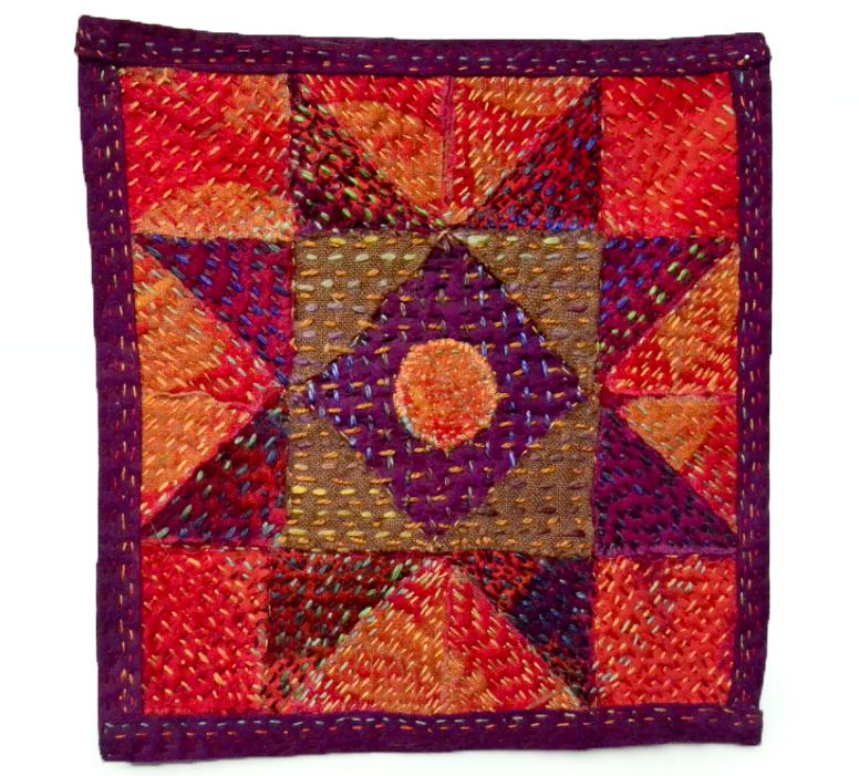 "BLOOD MOON (2016) :: a little quilt of cottons, 6.5"" x 6.75"""