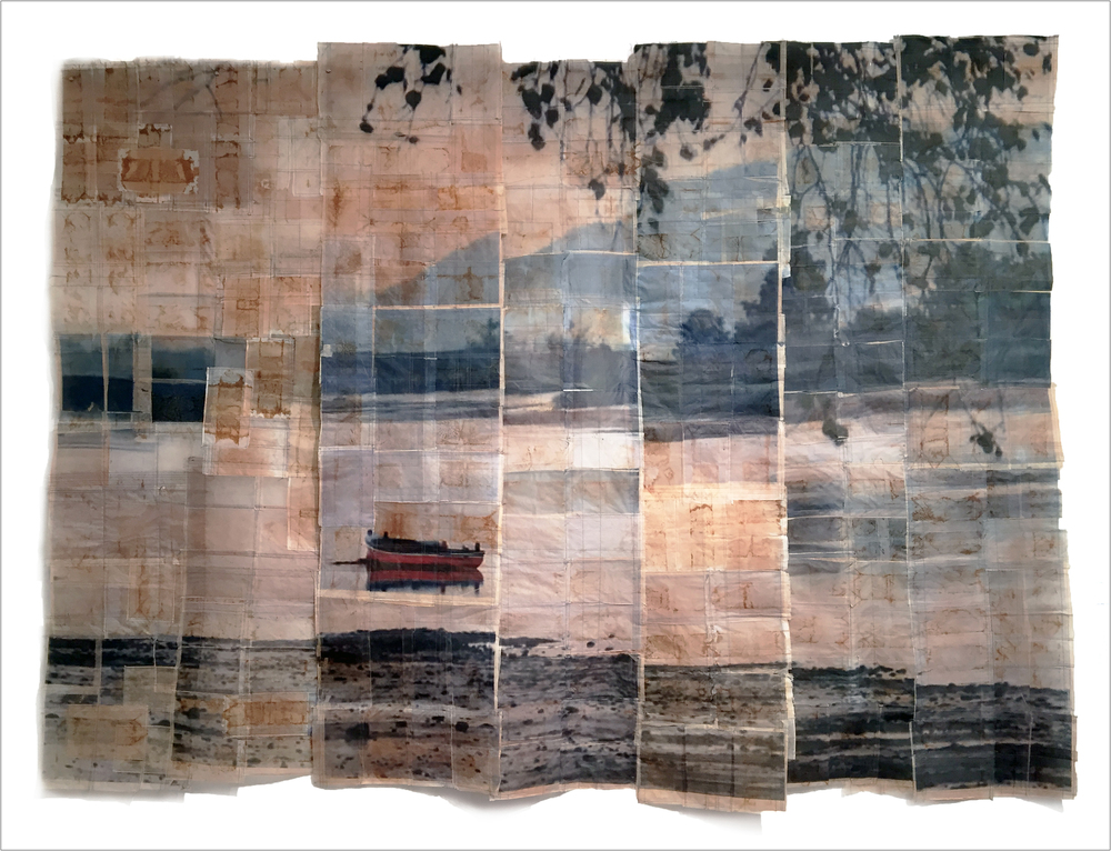 JENNIFER COYNE QUDEEN  :: THE RED BOAT :: TEABAGS, DIGITAL PRINT OF PHOTO TAKEN BY THE ARTIST, THREAD