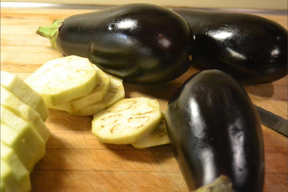 peeling the eggplant
