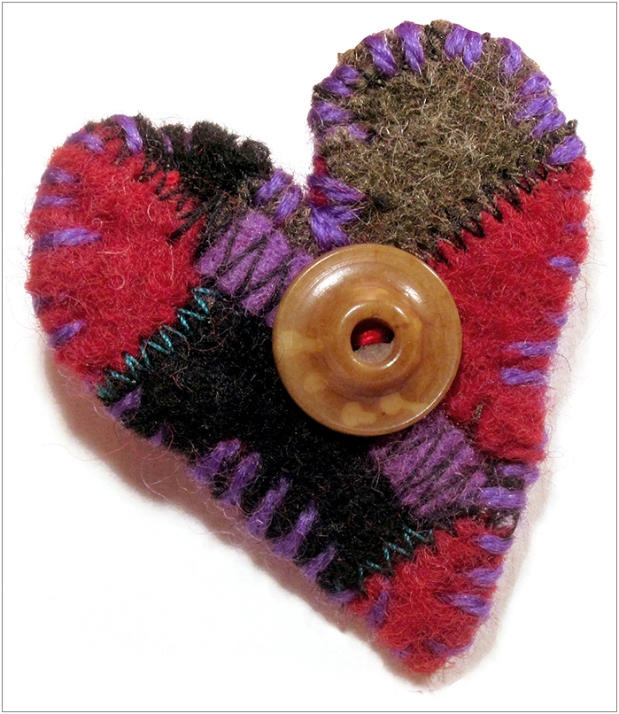 PATCHWORK HEART PIN