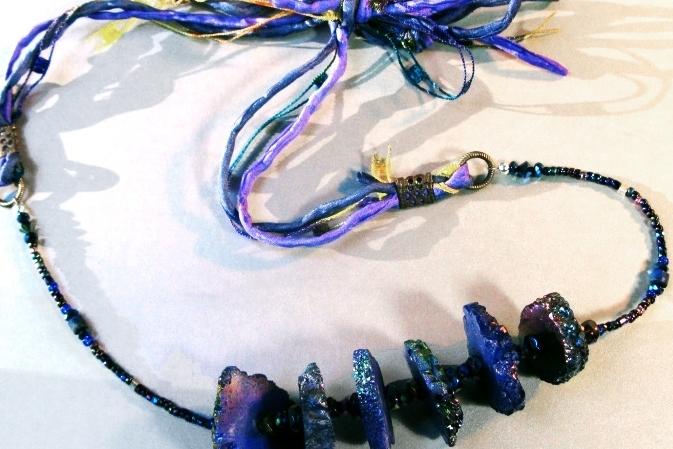 blue druzy & silk ribbon necklace.jpg