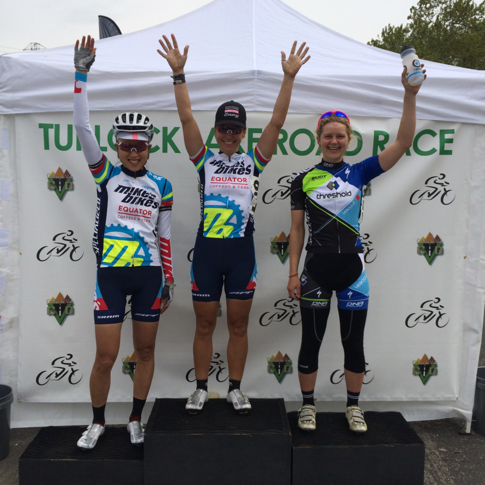 Dana Martin and Ivy Wang go 1 and 3 in the Turlock Lake    P 1-2 Road Race