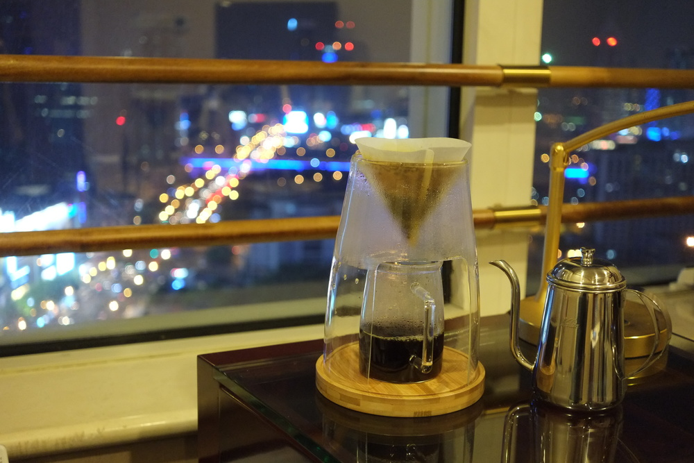 MCM sample overlooking a Shanghai night from my hotel room