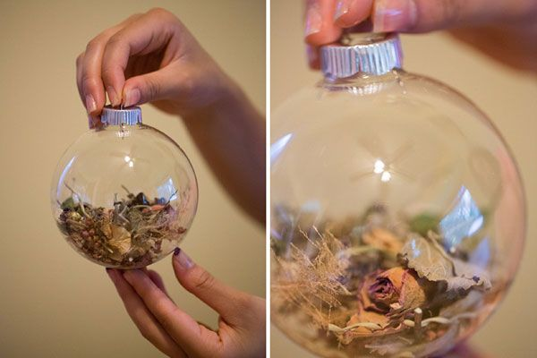 I love this idea of making an ornament using the petals and stems from a bouquet!