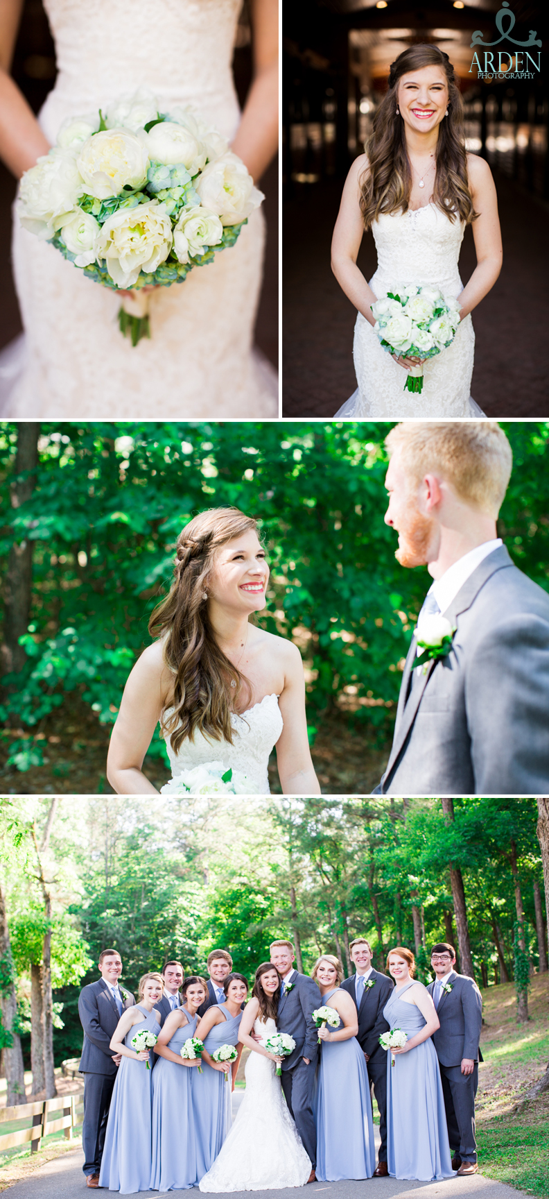 First look requirements: a loving couple, supportive friends, and, of course, a beautiful bouquet.