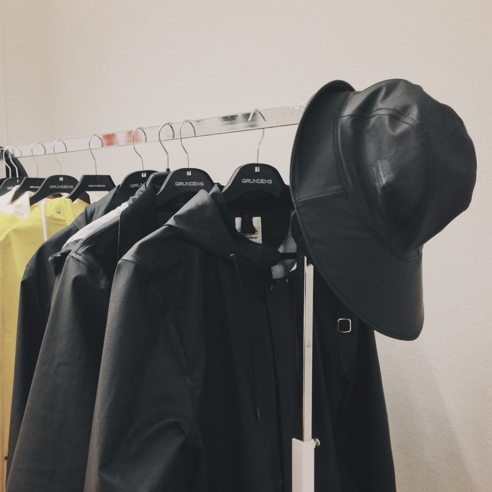 "Samples of the  Grundéns Originals  Range. Including the ""City Rainwear"" serie  Fårö."