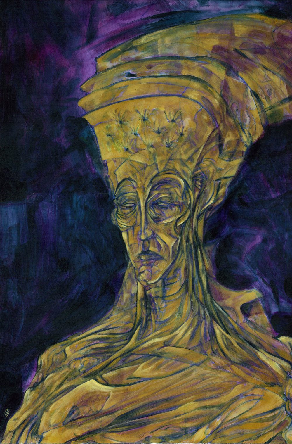 Gold Deity (2016) **SOLD**  Acrylic on Board  From the Lost Faces collection