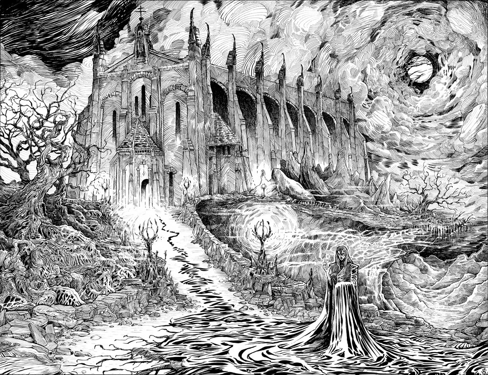 """""""House of Dracula"""" (2018) - Ink on Bristol"""