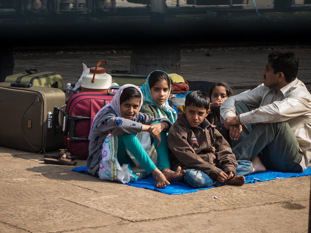 A family waits for their train. Calcutta, India 2012