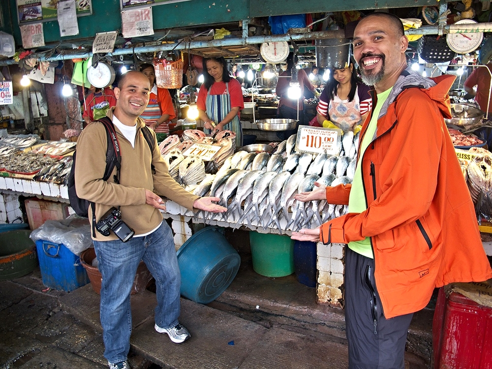 Bangus 'milkfish' vendor at the Baguio City Public Market, Philippines