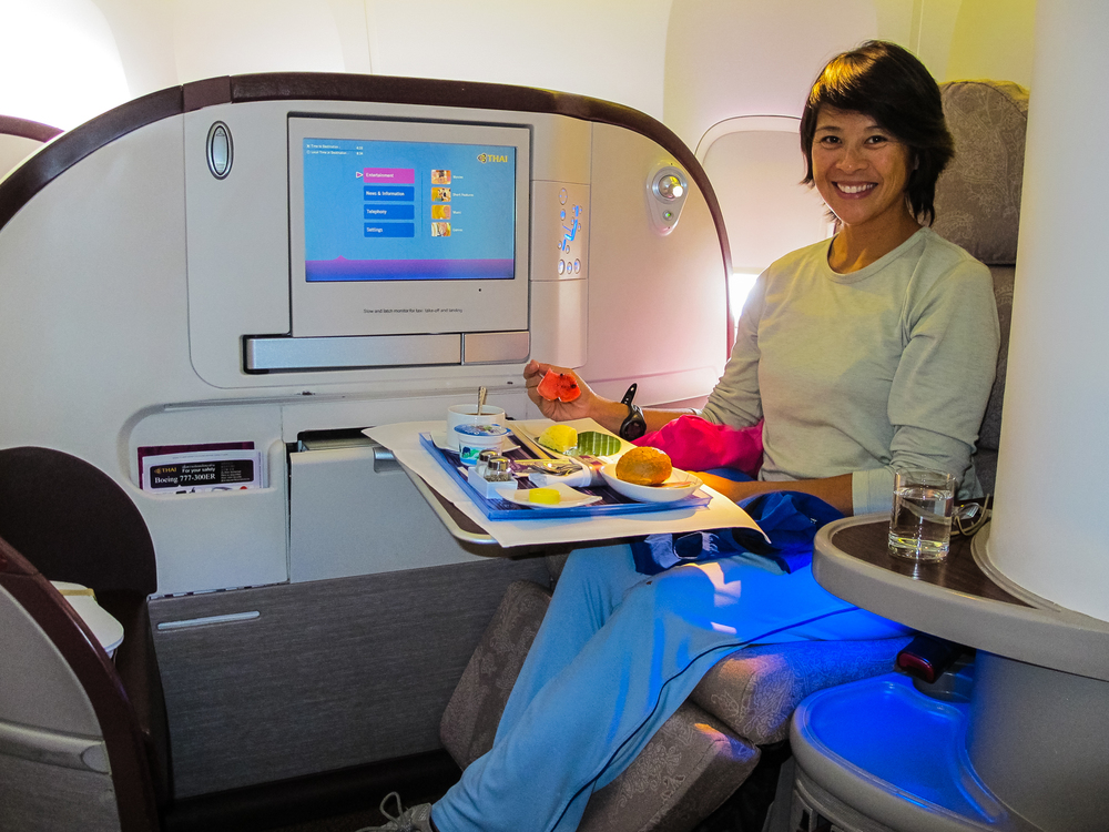 Royal Thai Airways Business Class Lie-Flat Seat from Bangkok to Tokyo