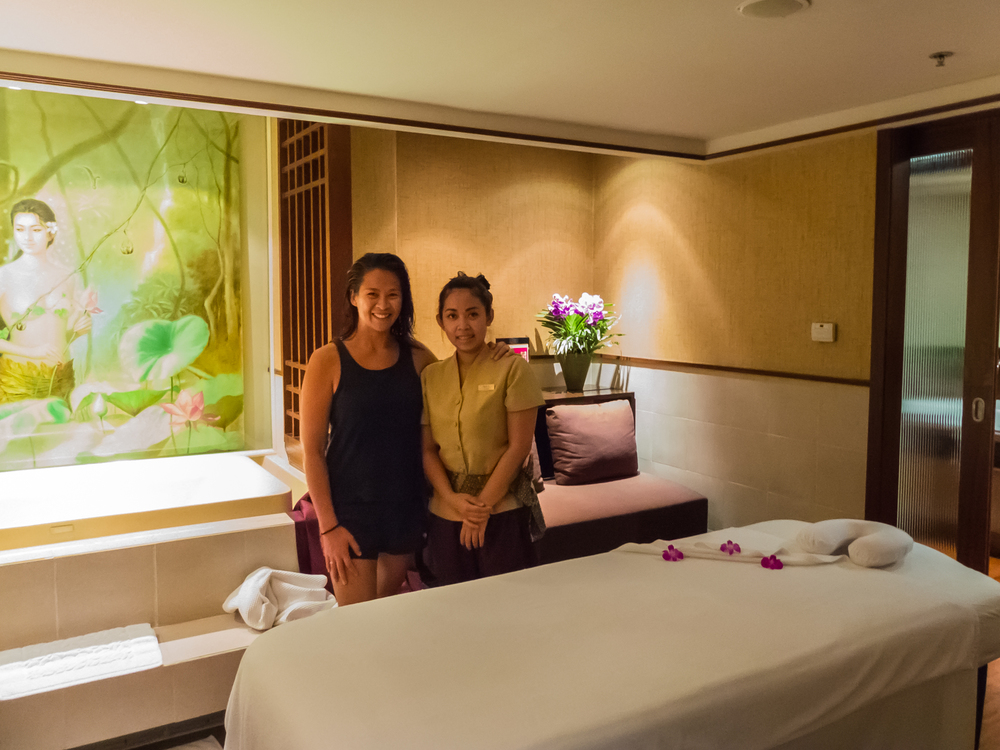 Josephine is glowing after her free one-hour full body massage at the Royal Thai Orchid Spa in Bangkok