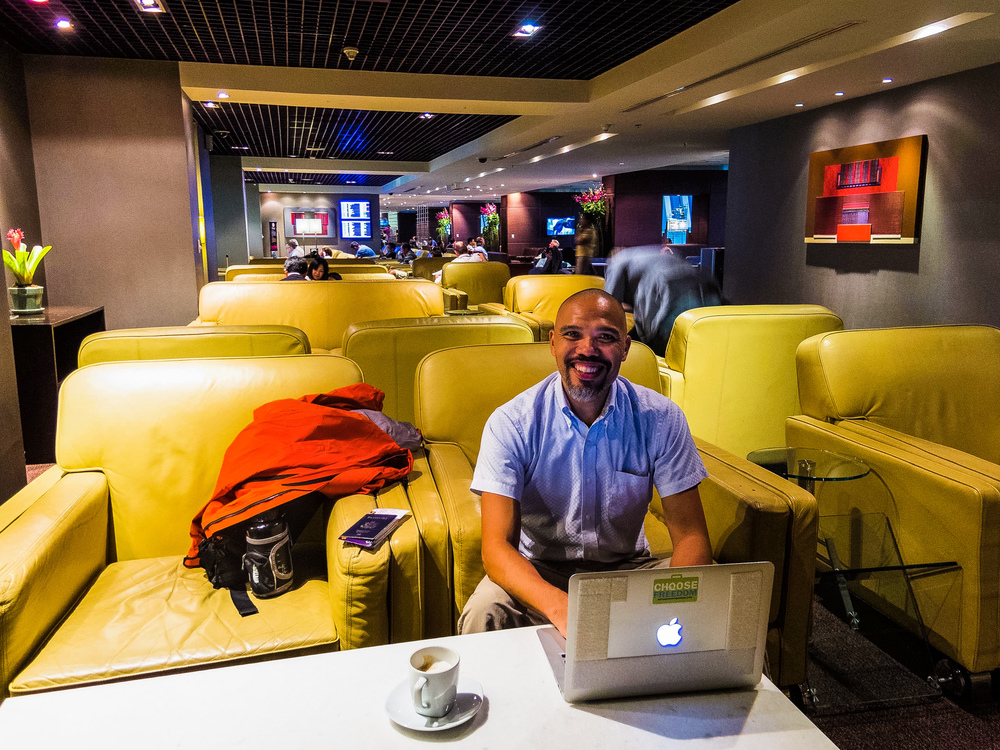 Work and an cappuccino at the Royal Thai Silk Lounge in Bangkok