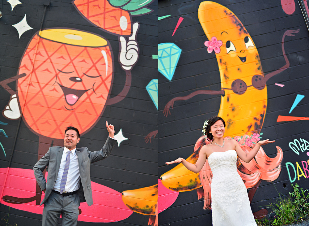 Bride and groom with tropical mural