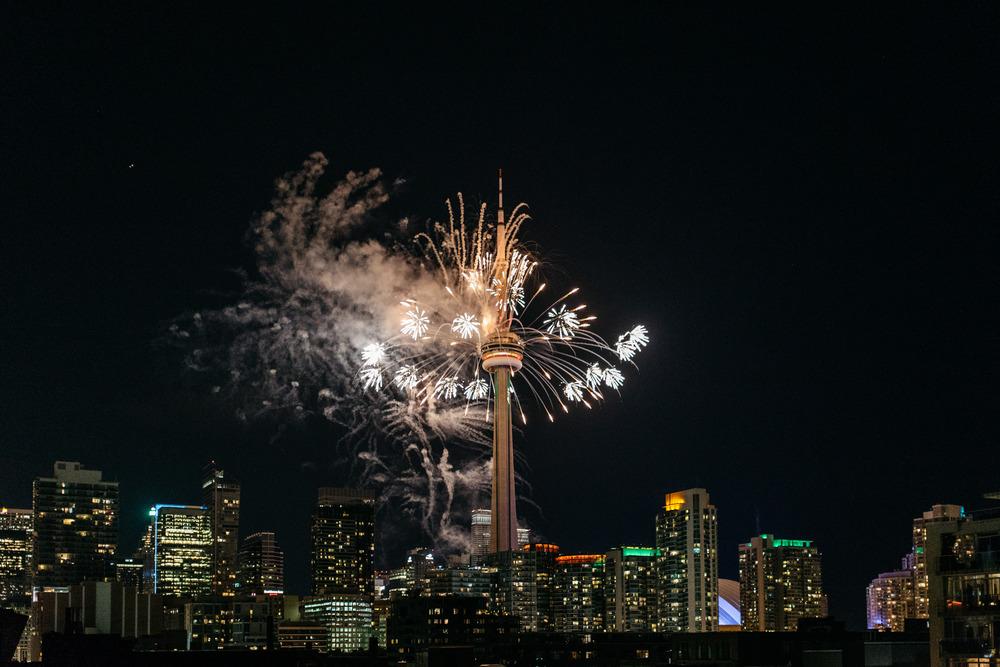 CN tower fireworks toronto