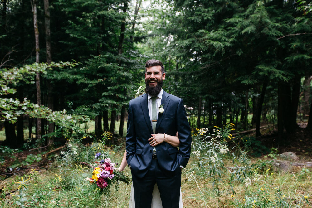 romantic forest wedding first look