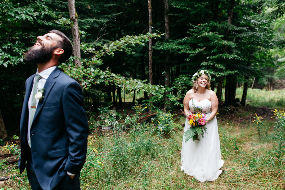 rustic forest wedding first look