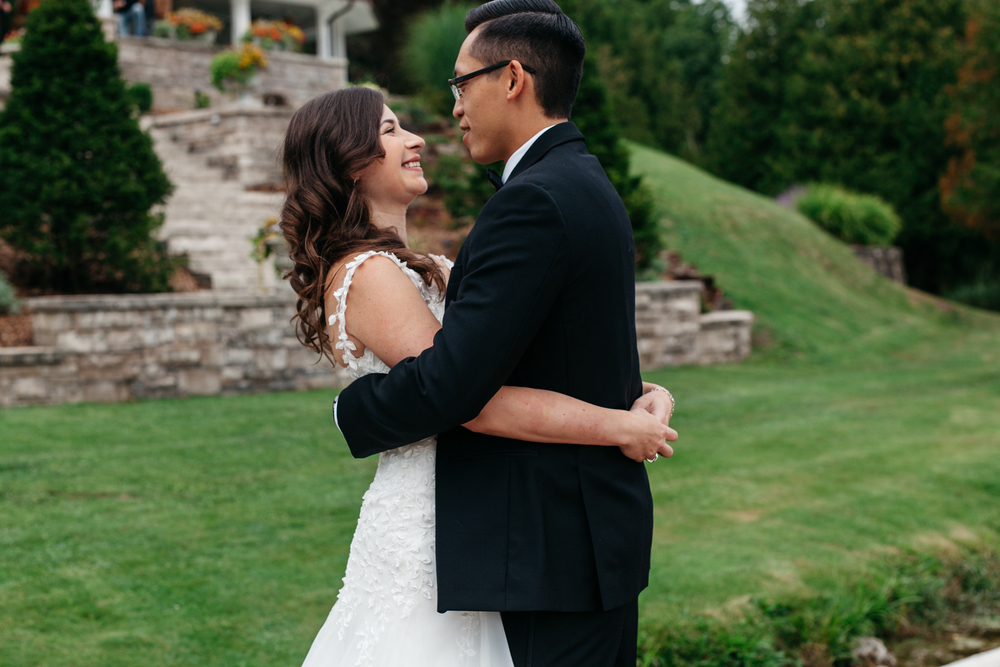 Romantic Lake Side First Look Wedding