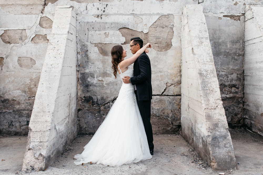 Urban Explorer Ruin Wedding Portrait