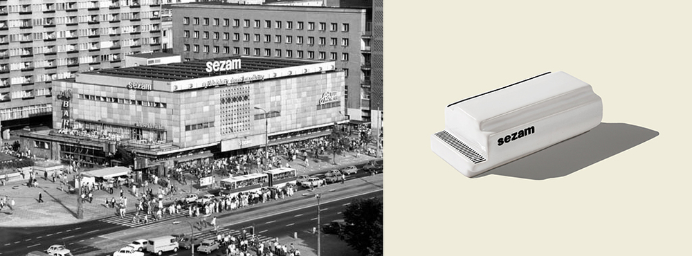 Sezam  - department store located at ul . Marszałkowska 126/134 wWarszawie in the years 1969-2014 . The building was designed by Andrzej Sierakowski, Tadeusz Błażejewski, Jan Kopciowski and Roman Widery as part of a team of the Eastern Wall ( photo: unknown photographer, 1981).