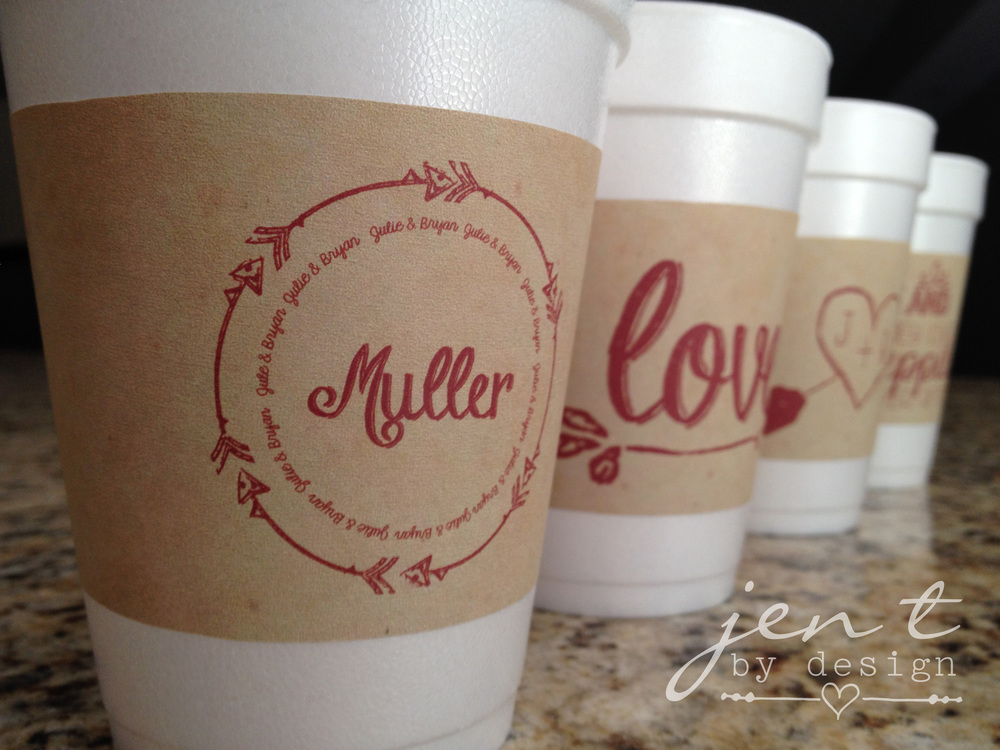 personalized wedding cup sleeves jen t by design