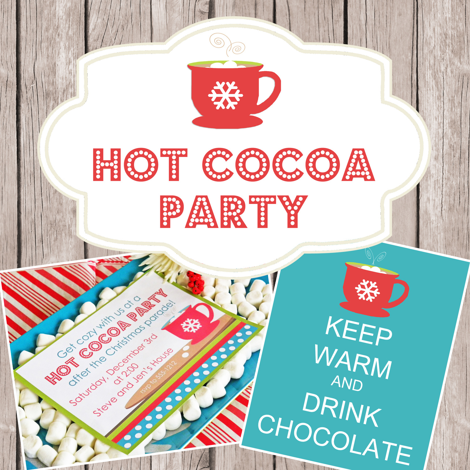 Complete Hot Cocoa Party Printable Collection Includes Customized