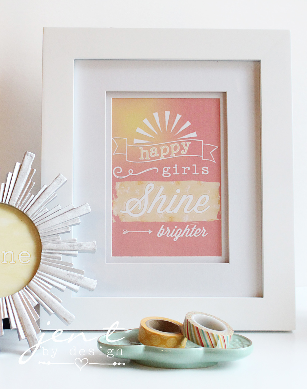 Happy Girls Shine Brighter Art Print