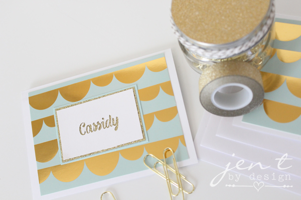 Personalized Gold Glitter Note Cards