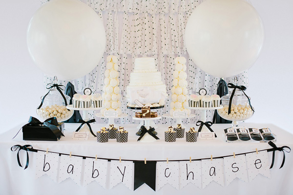 stylish black and white baby shower