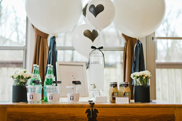 stylish baby shower beverage station