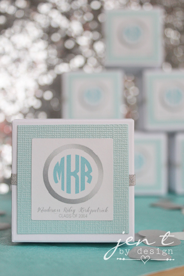 Graduation party favors personalized - love the monogram!  JenTbyDesign.com