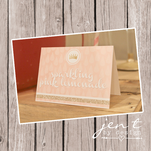 pink and gold tent labels jen t by design