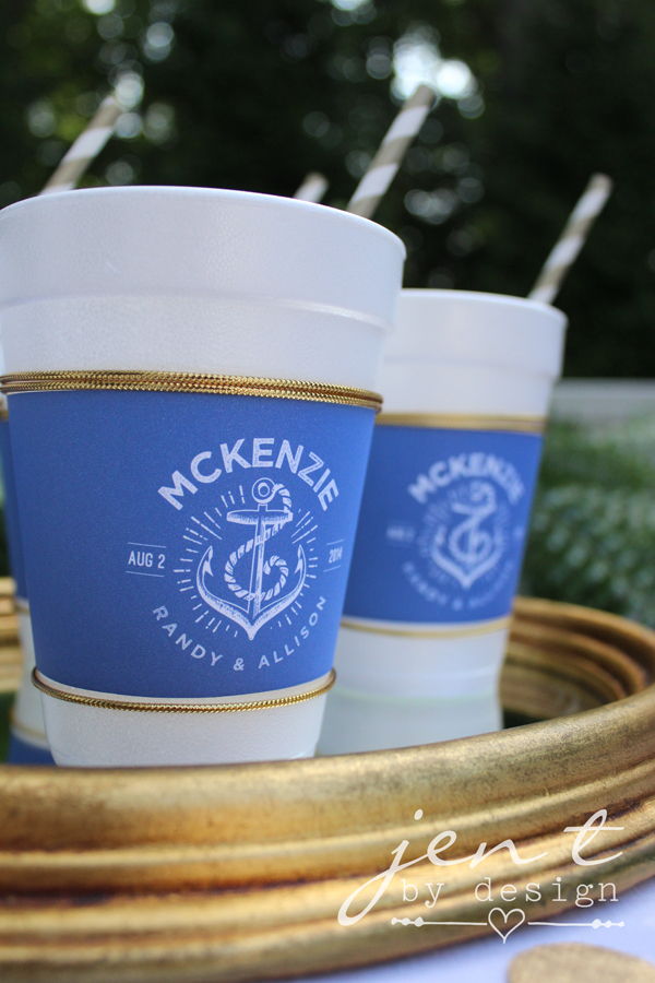 Custom Coffee Cup Sleeves for Nautical Wedding or Bridal Shower