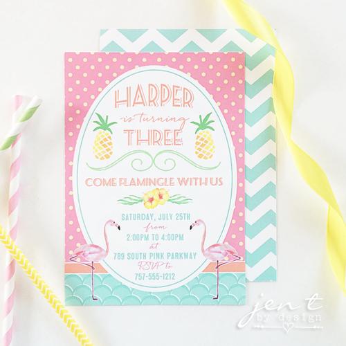 flamingo invitations jen t by design