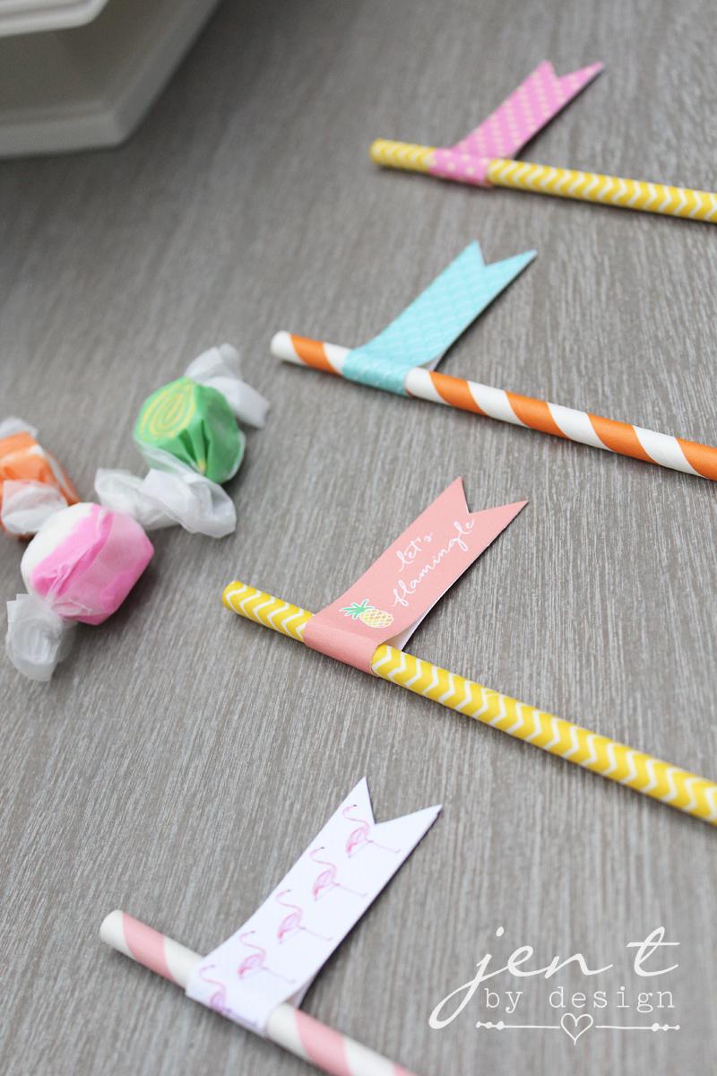 flamingo straw flags