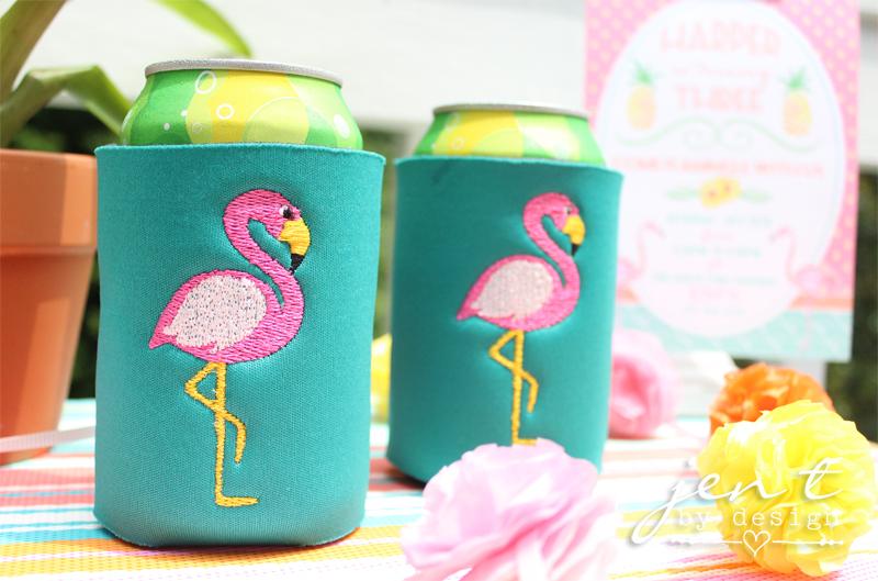 embroidered flamingo koozies