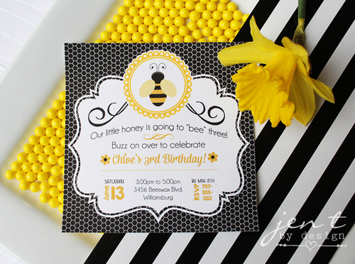 bumble bee party invitations jen t by design