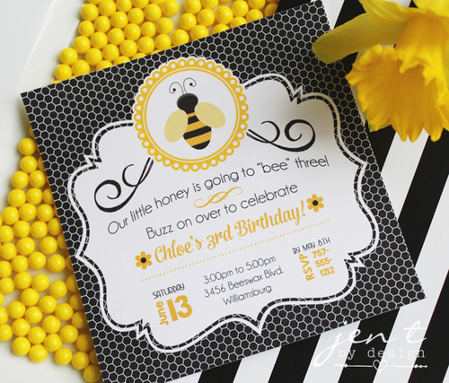 Bumble bee party invitations jen t by design bumble bee party invitations filmwisefo
