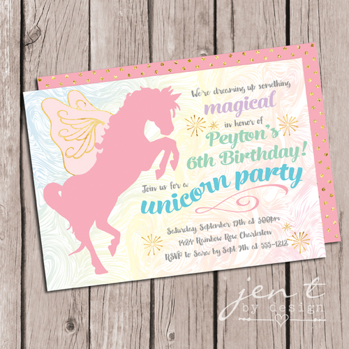 Magical unicorn party invitations jen t by design magical unicorn party invitations stopboris Choice Image