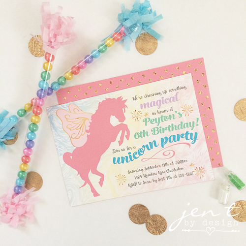 Magical Unicorn Party Invitations Jen T By Design