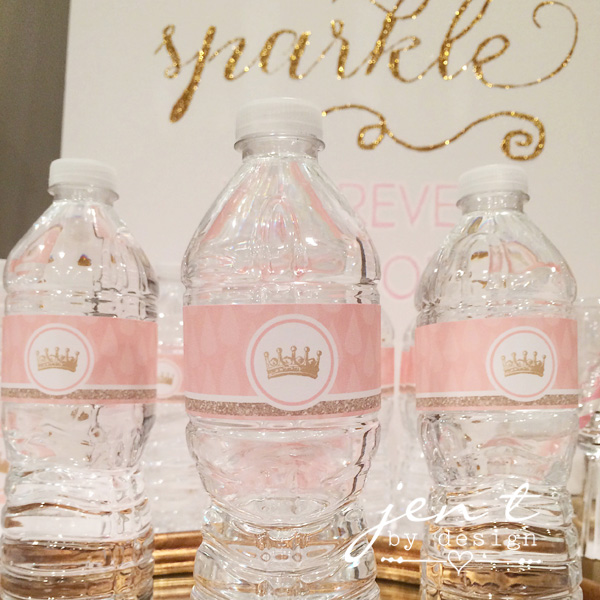 Pink And Gold Tiara Water Bottle Labels Jen T By Design