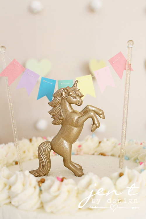 Pastel Rainbow Cake Topper Banner Unicorn Birthday Party