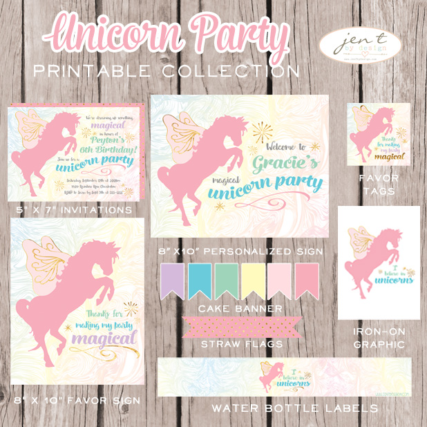 Unicorn birthday party printable collection includes custom invitations and personalized party sign jen t by design