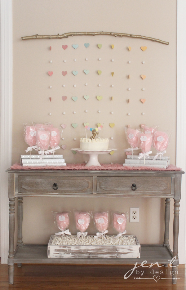 Unicorn Birthday Party Ideas - Pink Cotton Candy Clouds - JenTbyDesign.com