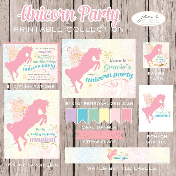 Magical Unicorn Party Invitations Jen T By Design