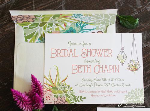 succulent bridal shower invitations